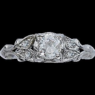 .40ct. Diamond Art Deco Antique Engagement Ring Platinum