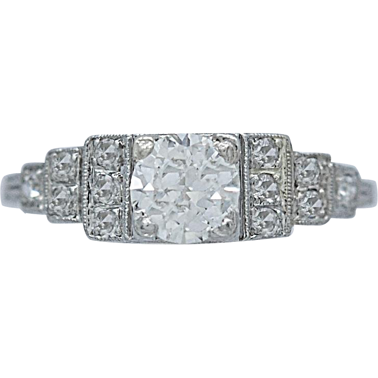 Art Deco Antique Engagement Ring .50ct. Diamond Platinum
