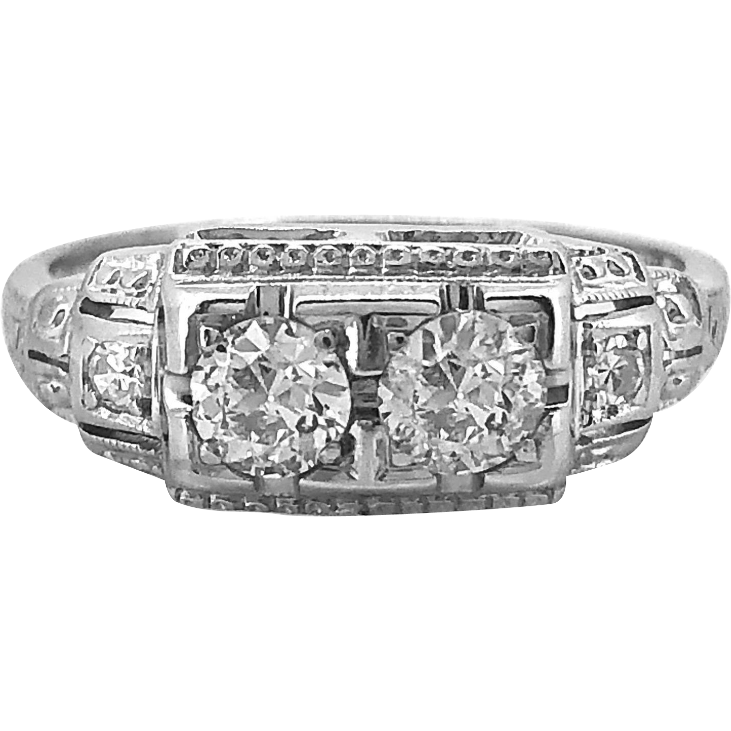 Jabel .55ct. T.W. Art Deco Diamond Antique Engagement - Fashion Ring 18k White Gold