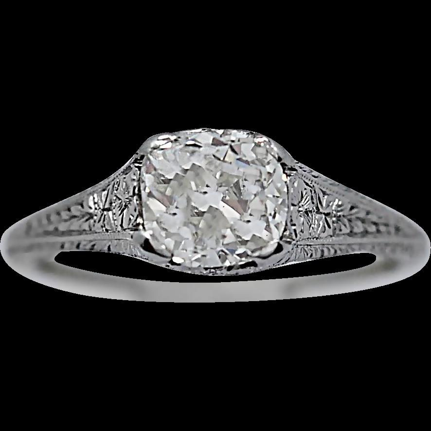 Art Deco Antique Engagement Ring 1.20ct. Diamond Platinum