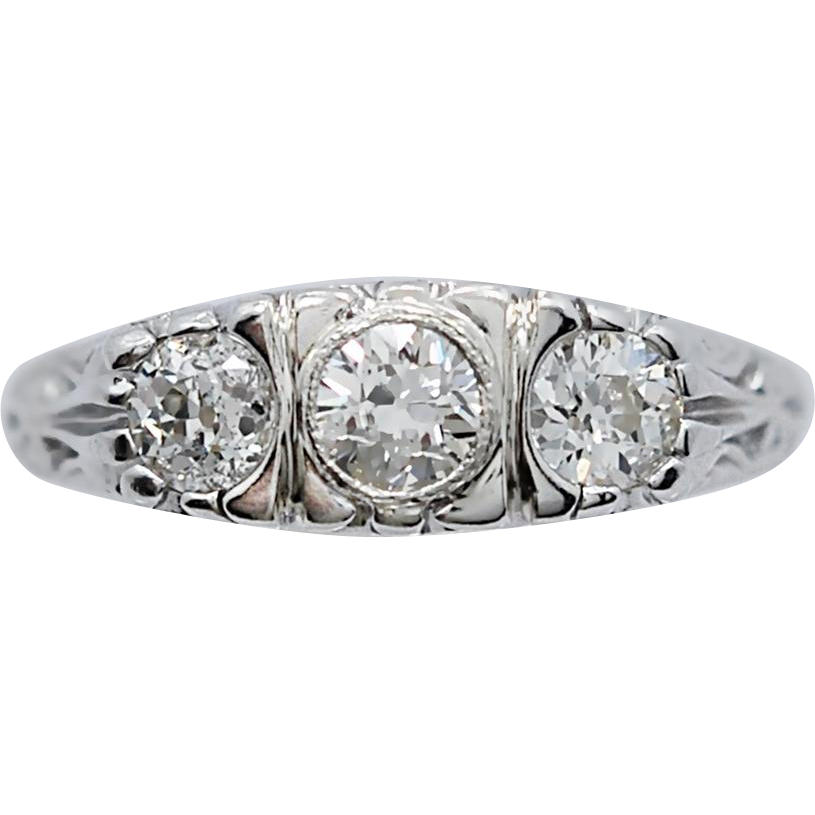 Art Deco .90ct. T.W. Diamond 3-Stone Antique Engagement Ring White Gold