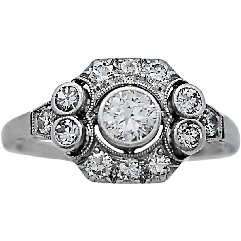 .25ct. Art Deco Diamond Antique Engagement Ring White Gold