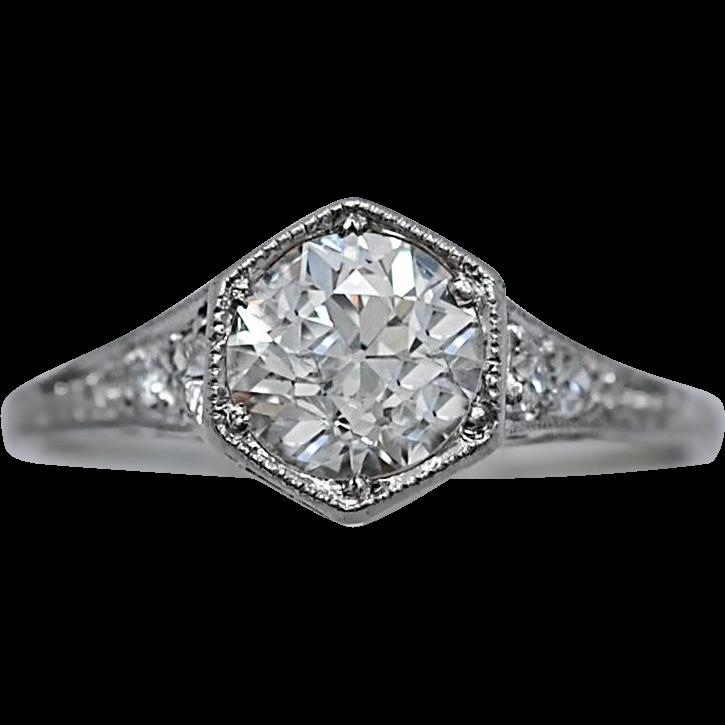 Art Deco Diamond Engagement Ring .98ct. GIA Certificate Platinum