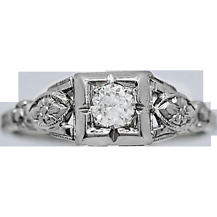 Art Deco Antique Engagement Ring .25ct. 18k White Gold