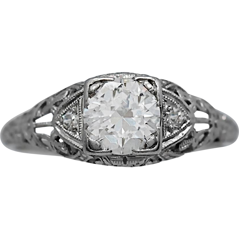 .80ct. Diamond Art Deco Antique Engagement Ring Platinum