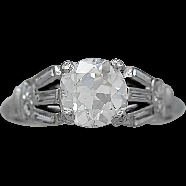 1.05ct. Diamond Art Deco Engagement Ring Platinum