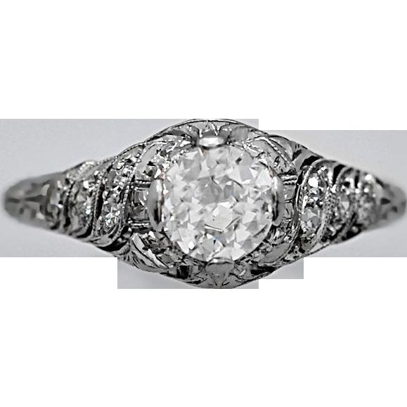 .65ct. Diamond Art Deco Engagement Ring Platinum