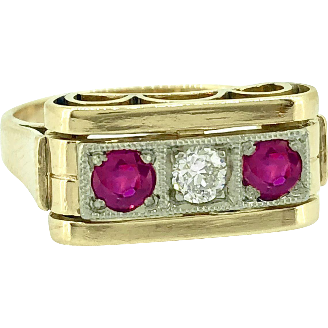Art Deco 3-Stone Diamond Antique Engagement - Fashion Ring .33ct. T.W. Ruby & .12ct. Yellow Gold