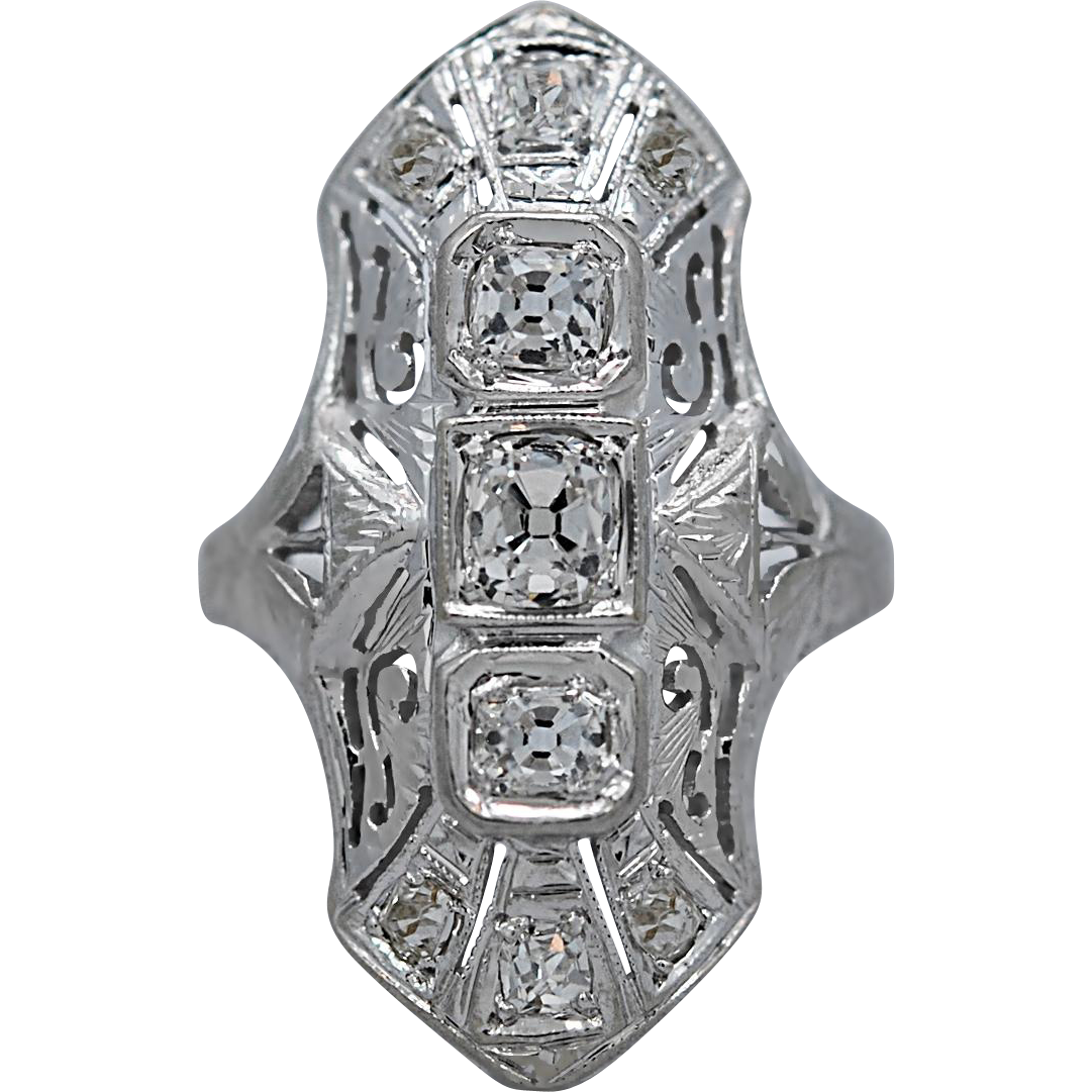 Art Deco 3-Stone Diamond Engagement - Fashion Ring .53ct. T.W. White Gold