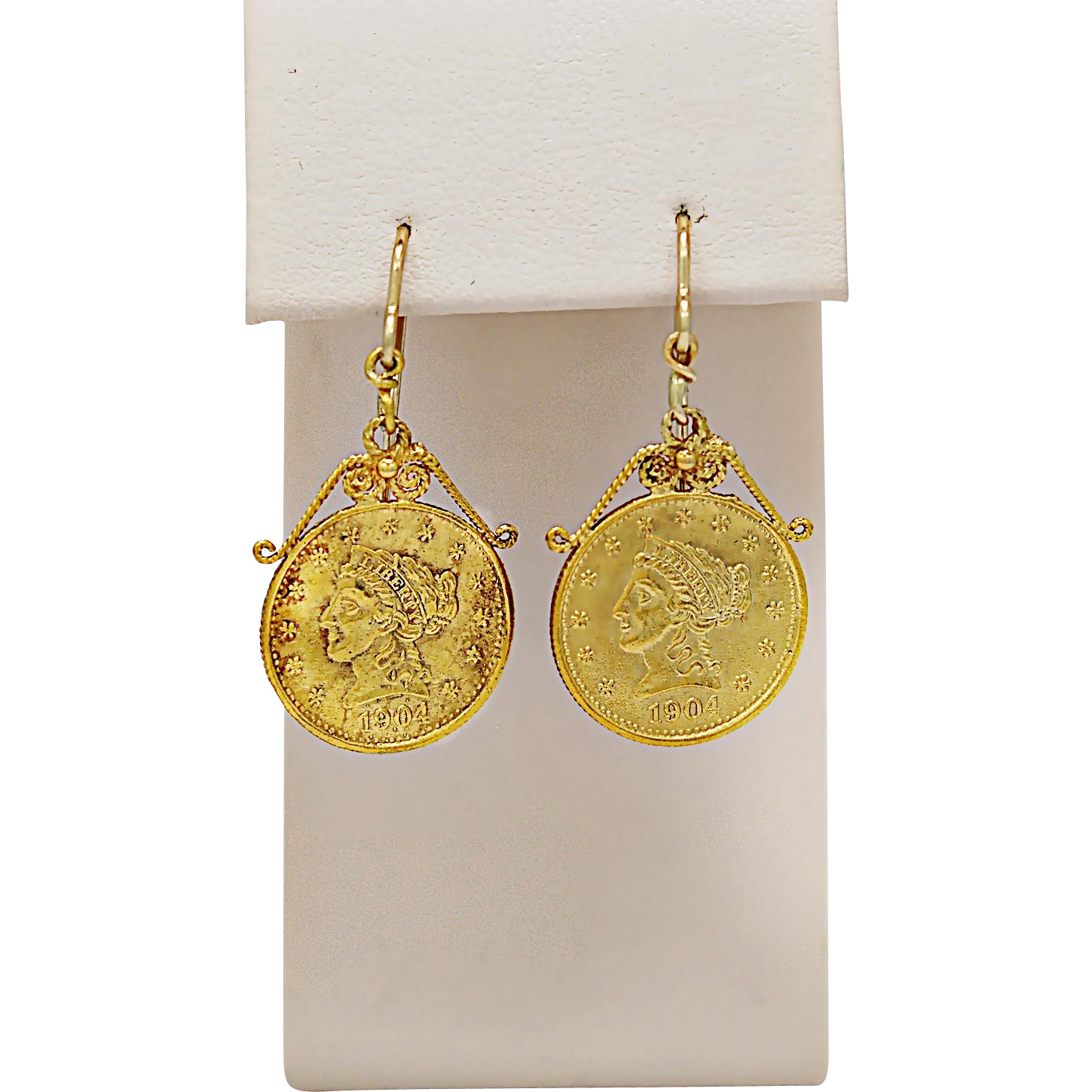Antique 2-1/2 Dollar Reproduction Gold Coin Earrings