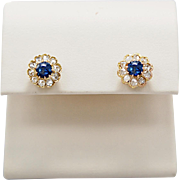 .80ct. T.W. Late Victorian Sapphire & Diamond Earrings Yellow Gold
