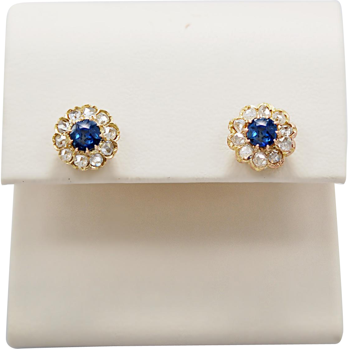 .80ct. T.W. Late Victorian Sapphire & Diamond Earrings Yellow Gold