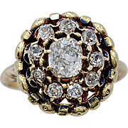 Late Victorian Engagement - Fashion Ring .95ct. Diamond & Yellow Gold