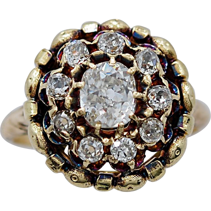 Late Victorian Engagement - Fashion Ring .95ct. Diamond & Yellow Gold