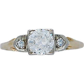 Art Deco Antique Engagement Ring .53ct. Diamond White and Yellow Gold