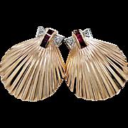 Retro Ruby, Diamond & Rose Gold Estate Earrings
