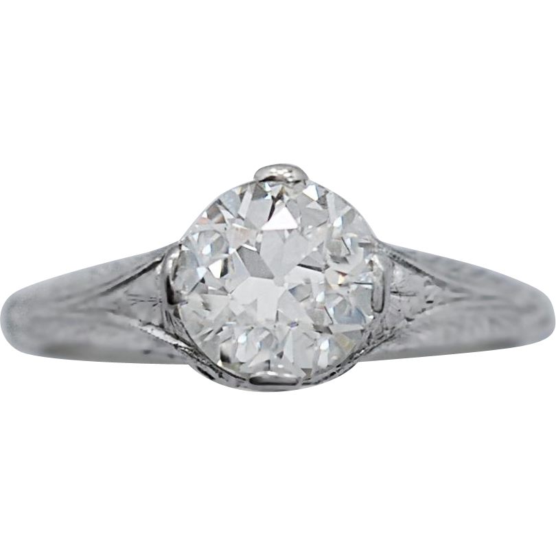 Edwardian Diamond & Platinum Antique Engagement Ring 1.63ct.