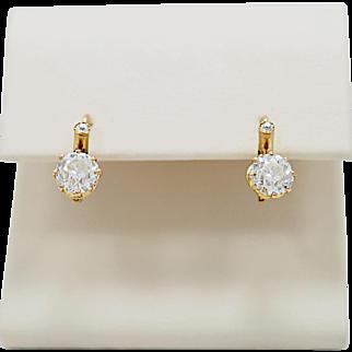 Edwardian Diamond Dangle Earrings 2.10ct. T.W. & 18k Yellow Gold