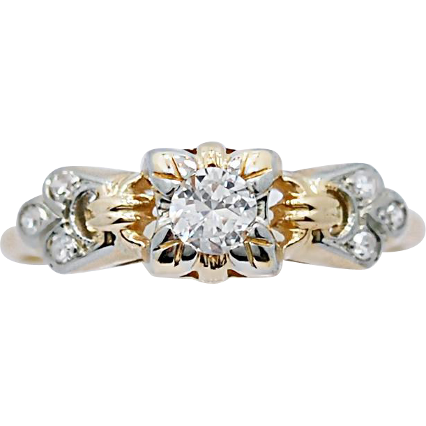 Art Deco .20ct. Diamond Antique Engagement Ring Yellow Gold