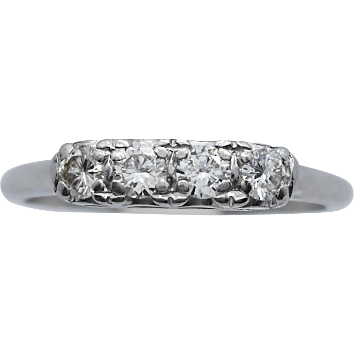 Art Deco Anniversary Band .50ct. T.W. Diamond & Platinum