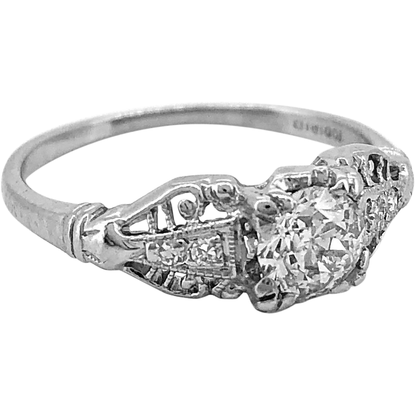 Art Deco Antique Engagement Ring .35ct. apx. Diamond Platinum