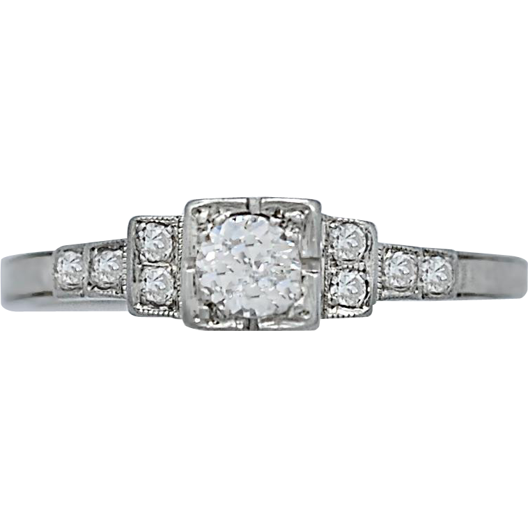 Art Deco .17ct. Diamond Antique Engagement Ring 18k White Gold