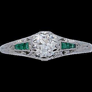 Art Deco .40ct. Diamond & .20ct. T.W. Emerald Antique Engagement Ring 18k White Gold