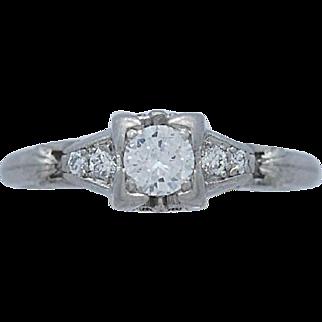 Art Deco Diamond Engagement Ring .25ct. Platinum