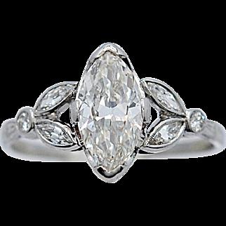1.33ct. Diamond Art Deco Antique Engagement Ring Platinum