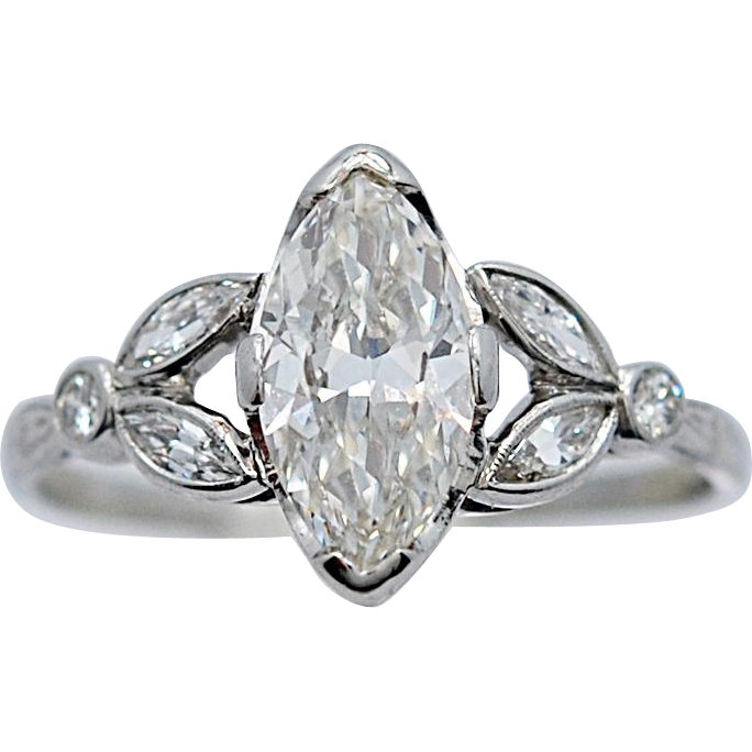 1.33ct. Diamond Art Deco Antique Engagement Ring Platinum