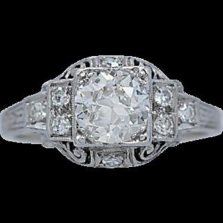 Art Deco Diamond & Platinum Antique Engagement Ring .85ct.
