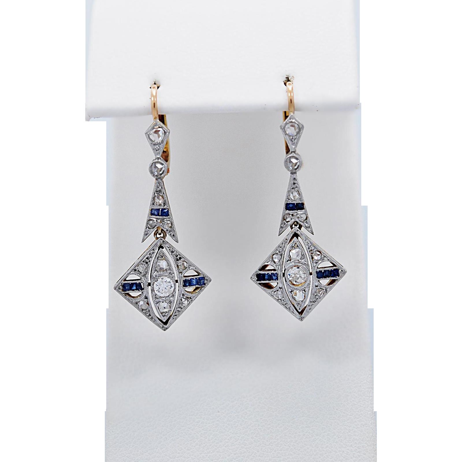 Art Deco Antique Dangle Earrings .70ct. T.W. Diamond & .25ct. T.W. Sapphire Platinum & 18k Yellow Gold
