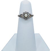 Edwardian Pearl and .33ct. T.W. Diamond Fashion Ring Yellow Gold & Platinum