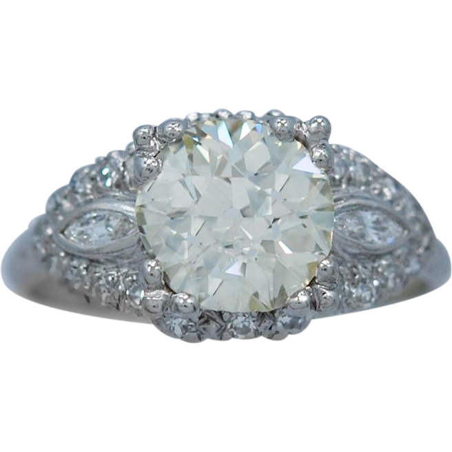 Platinum 2.05ct. Diamond Art Deco Antique Engagement Ring