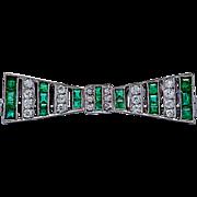 Art Deco Antique Brooch 2.00ct. T.W. Emerald & 1.00ct. T.W. Diamond Platinum