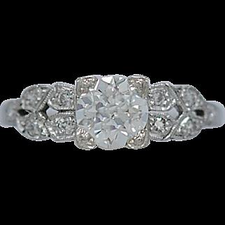 Art Deco .85ct. Diamond Antique Engagement Ring Platinum