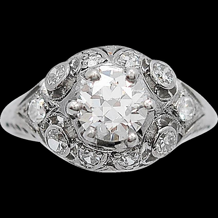 Art Deco Diamond Antique Engagement Ring .78ct. Platinum