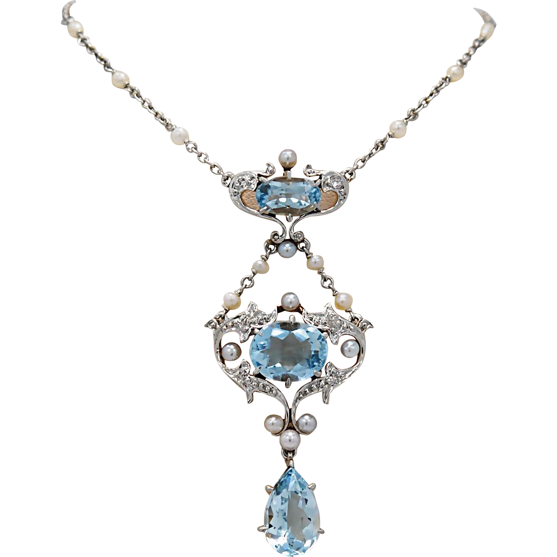 5.15ct. T.W. Platinum Edwardian Aquamarine, Seed Pearl & Diamond Necklace 18K Yellow Gold