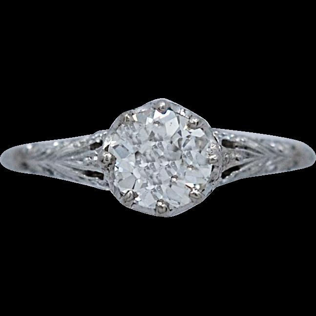 Art Deco .80ct. Diamond Antique Engagement Ring Platinum