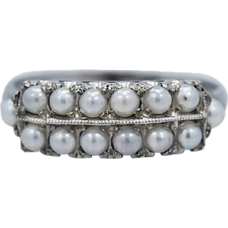 1930's Art Deco Double Row Cultured Pearl Antique Fashion Ring White Gold