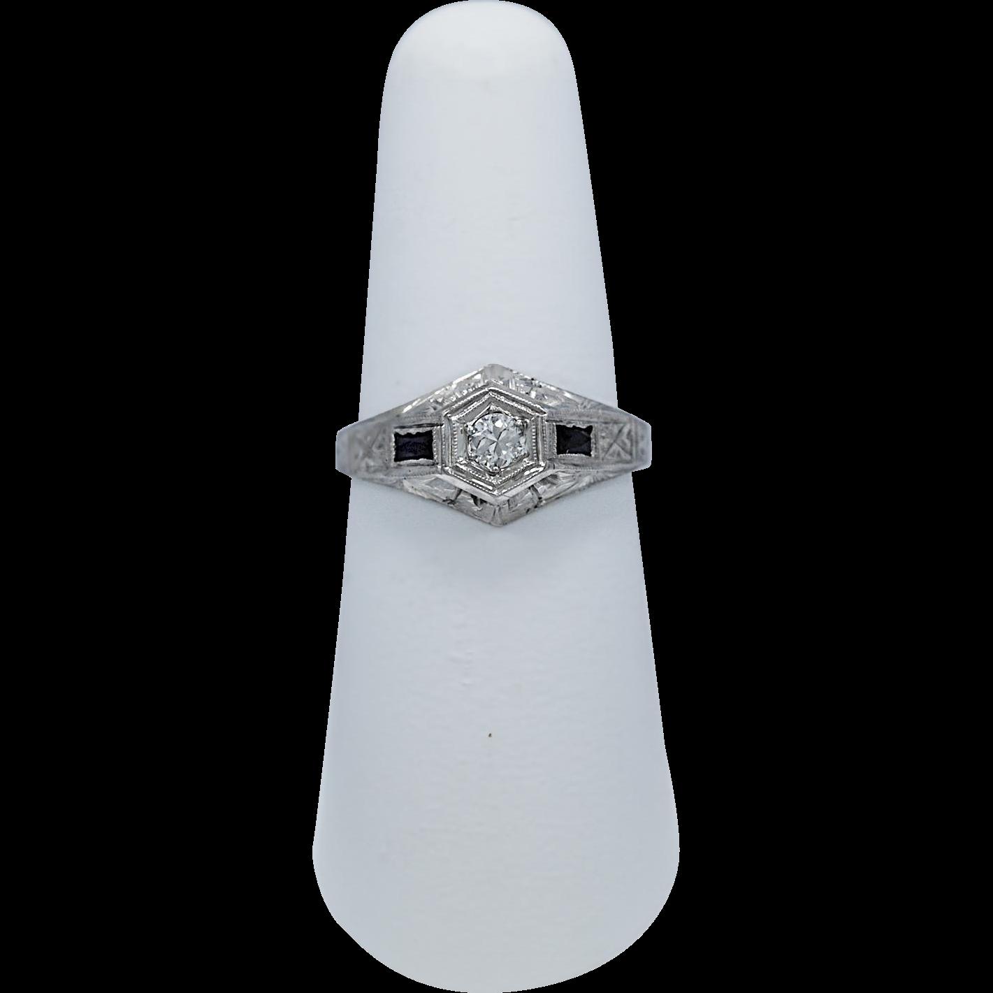 Art Deco .15ct. Diamond & Sapphire Antique Engagement Ring White Gold