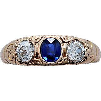 .80ct. T.W. Diamond & .60ct. Natural Sapphire Antique Wedding Ring - Fashion Ring Yellow Gold