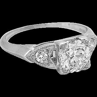 Art Deco .92ct. Diamond Antique Engagement Ring Platinum