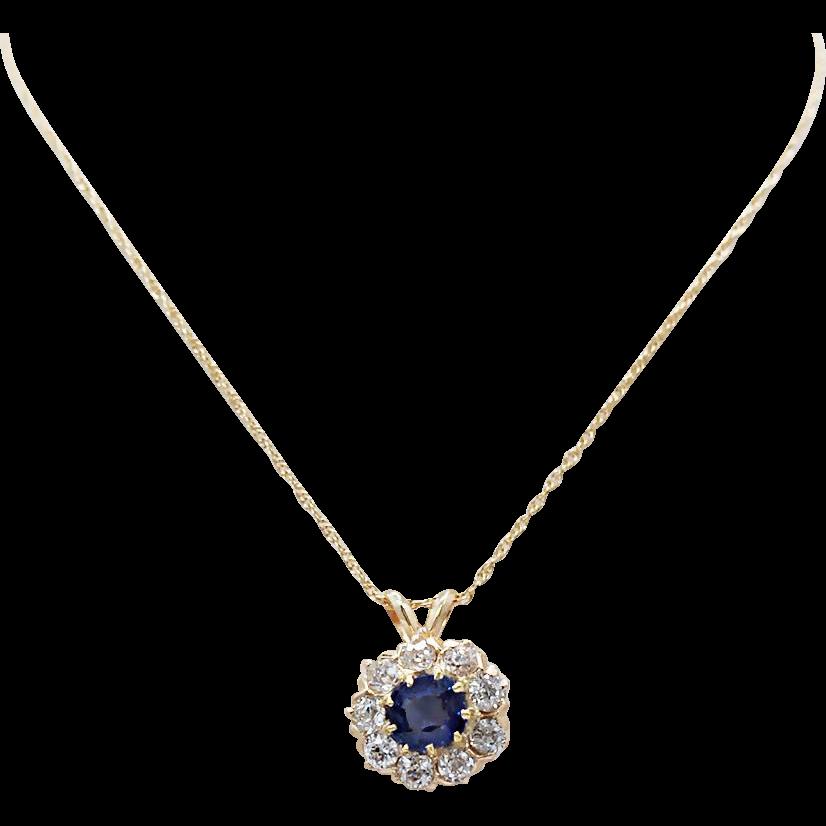 Art Deco .50ct. Sapphire & .50ct. T.W. Diamond Antique Necklace