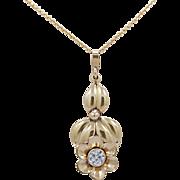 .55ct. Diamond & Yellow Gold Art Nouveau Antique Pendant - Necklace