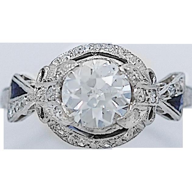 Art Deco 1.10ct. Diamond & Sapphire Engagement Ring Platinum