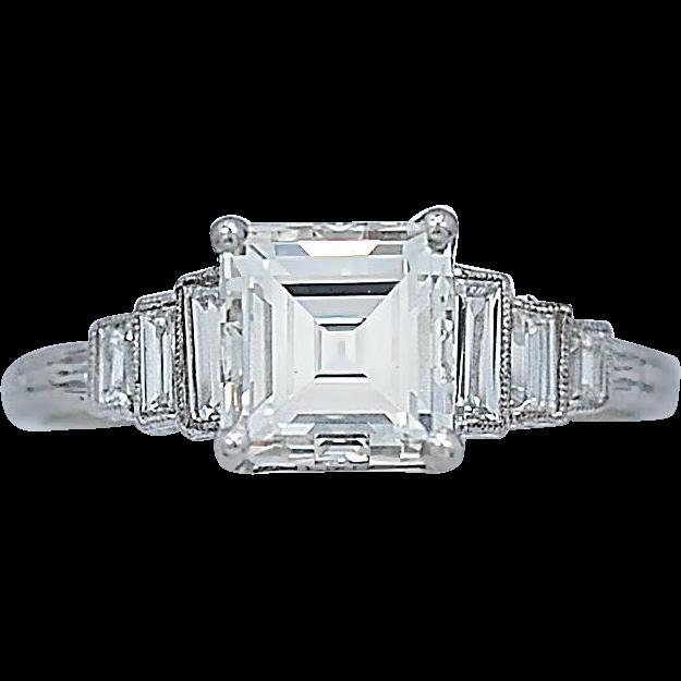 Art Deco 1.30ct. Diamond Engagement Ring Platinum