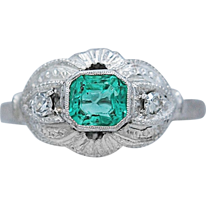 Art Deco Style .75ct. Emerald and Diamond Antique Engagement - Fashion Ring 18k White Gold