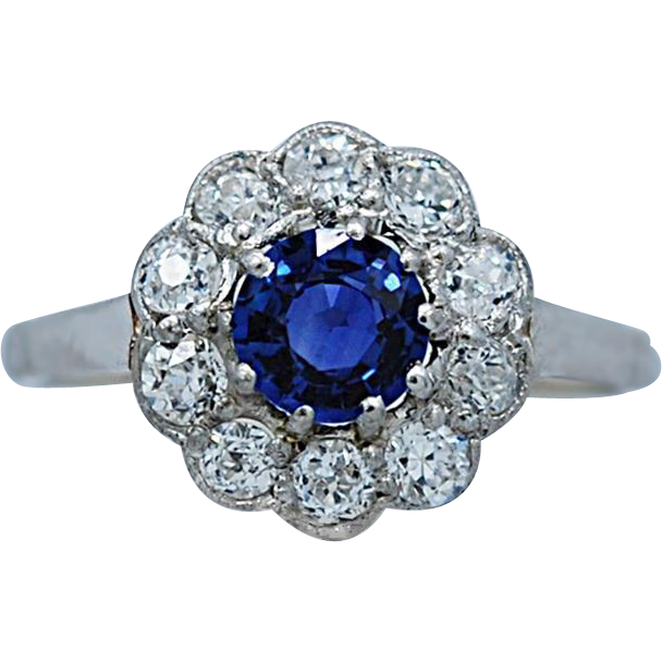 Art Deco .55ct. Sapphire & .50ct. T.W. Diamond Antique Engagement - Fashion Ring Platinum