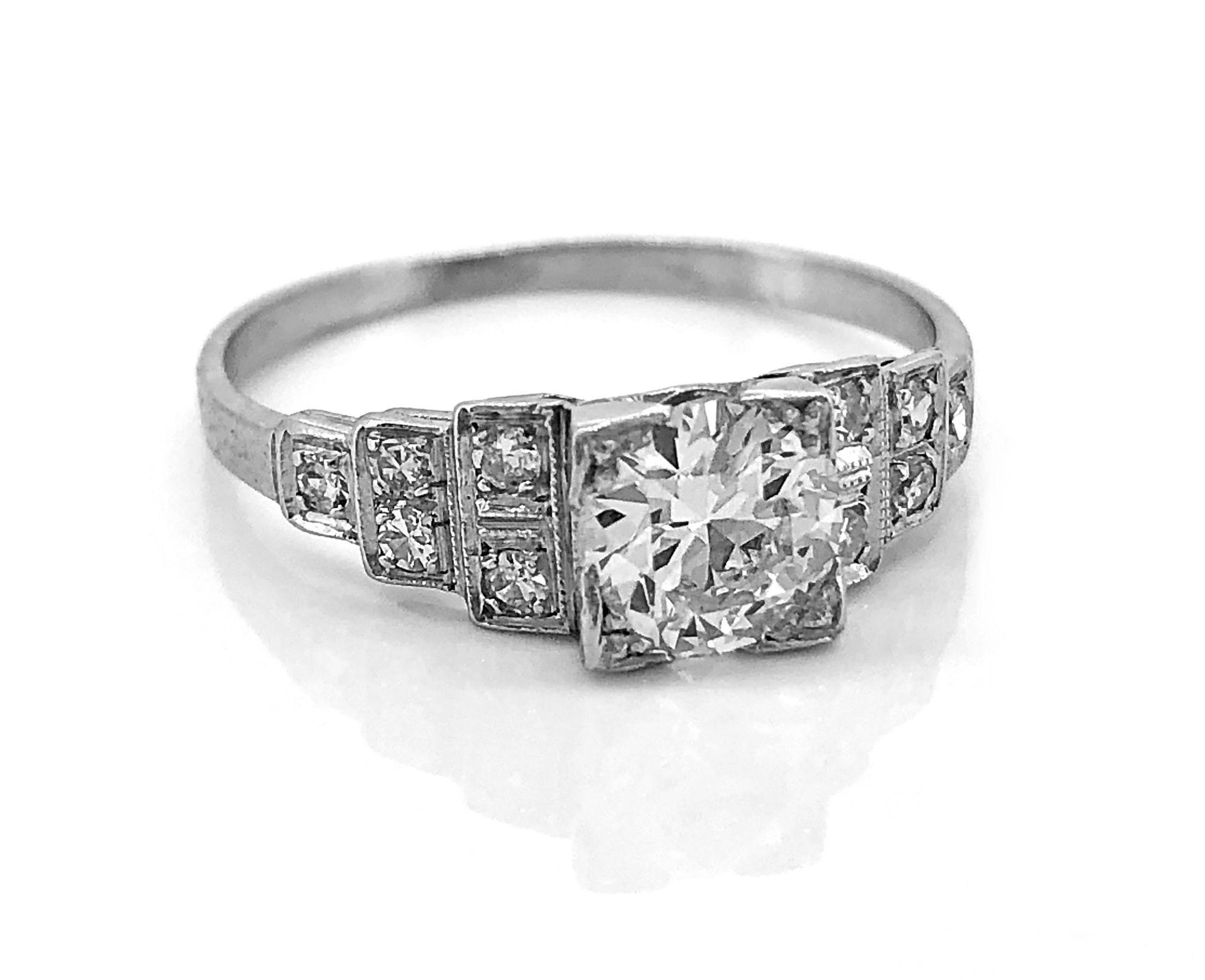 Art Deco .75ct. Diamond Antique Engagement Ring Platinum